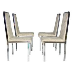 Image of Milo Baughman Chrome Dining Chairs - Set of 4
