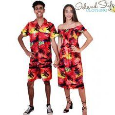 Couples Set Sunset Capped Sleeve Dress Mens Hawaiian Shirt Fancy Dress Costume Set. Luau, Cruise, Halloween.
