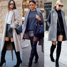 Sexy&modern look with high knee tight boots!
