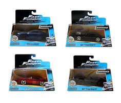 Set of 4 Fast Furious 7 Collection Official Movie Merchandise Authentic Detailed #BriansNissanGTR35DomsDodgeCharger