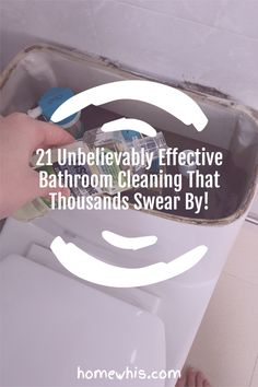 Maintaining a clean bathroom is an important routine that keeps the home smelling good and looking clean. Here are 21 bathroom cleaning hacks that will make cleaning your bathroom so much easier and with less sweat. Visit the blog post to see all 23 bathroom cleaning hacks to clean, disinfect and deodorize your bathroom. #homewhis #cleaninghacks #bathroomcleaning #cleaningtips #cleaning #cleanbathroom #smellhacks #bakingsodacleaning #cleaningschedule Bathroom Sink Organization, Fridge Organization, Bathroom Cleaning Hacks, Baking Soda Cleaning, Dawn Dish Soap, Hard Water Stains, Dishwasher Detergent, Clean Microfiber, House Smells