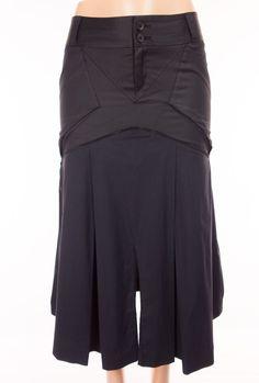 MARITHE FRANCOIS GIRBAUD Skirt 27 S Small Black Blue Pleated Artsy Pockets…