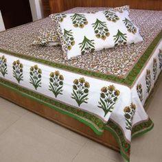 Sommerlich Farbenfrohes Baumwolle Bettuch mit passenden Kopfkissen-Bezügen 224 cm x 269 cm: Amazon.de: Küche & Haushalt
