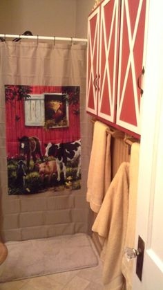 Working On My County Bathmade Shower Curtain With Yard Flagmaking A Valance Bandanas