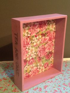Shabby Chic pink decoupaged Wooden serving tray