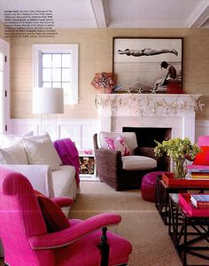 "In article ""Turning the Tide,"" designer Kimberly Hall refreshes a Hamptons home by utilizing Extra Fine Arrowroot 071 Feather in the family room and master bedroom of writer Holly Peterson's house."