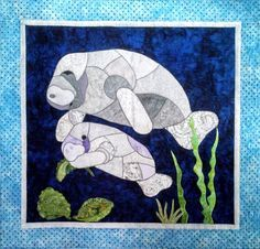 Manny and Momma Manatee Fusible Applique Pattern by coopersquilts Mosaic Projects, Quilting Projects, Quilting Designs, Quilting Ideas, Faux Stained Glass, Stained Glass Patterns, Turtle Quilt, Raw Edge Applique, Applique Quilt Patterns
