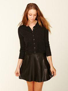 need a leather skirt for fall...Barrow & Grove Basic Cashmere Crewneck Cardi