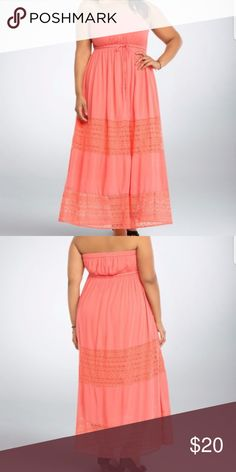 LAST CHANCE! Torrid coral maxi Gauze material with crochet like lace. Cinch tie in the middle. Strapless. Very pretty. Size 2 or 18. torrid Dresses Maxi