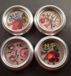 Vtg Set of 4 Silver Coasters Needlepoint Flowers Cross Stitch Floral Hong Kong | eBay