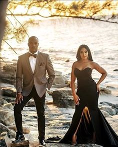 Image may contain: 2 people, people standing and outdoor Elegant Engagement Photos, Engagement Photo Poses, Engagement Couple, Engagement Pictures, Rock Chic, Black Love Couples, Elegant Couple, Black Bride, Couple Photography Poses