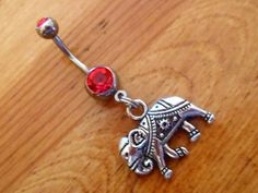Belly button ring - Elephant with Red Gem Belly Button Ring on Wanelo