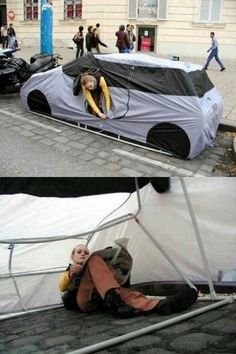 "Just in case i am ever homeless again. Tent that looks like a car so that it can ""park"" on the street.  In our area, 3 out of 4 cities, it is illegal to sleep in your car, even in a private driveway.  Walmart it's legal only 24 hours a YEAR.  Only one city, code enforcement officer, said that you could park for 72 hours:  ""As long as no one complained."""