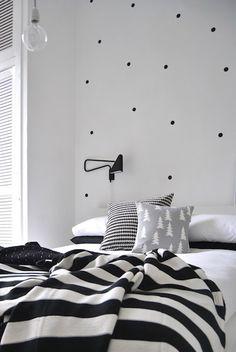 Polka Dot Walls, Polka Dots, Bedroom Black, Monochrome Bedroom,