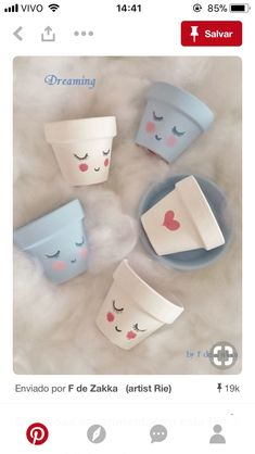 Hand-painted flower pots & # Dreaming & # The Effective Pictures We Offer You About Decoupage lampshade A quality picture can tell yo Flower Pot Crafts, Clay Pot Crafts, Diy And Crafts, Crafts For Kids, Flower Pot Art, Diy Clay, Painted Plant Pots, Painted Flower Pots, Painting Terracotta Pots