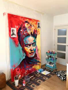 Wip Frida Kahlo acrylic on Canvas by Javier Peña Abstract Portrait, Portrait Art, Canvas Art Prints, Fine Art Prints, Canvas Paintings, Lino Prints, Block Prints, Arte Marilyn Monroe, Kahlo Paintings