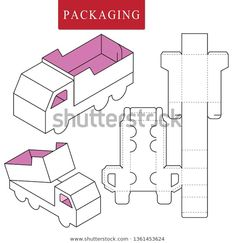 Find Package Template Transportation Concept stock images in HD and millions of other royalty-free stock photos, illustrations and vectors in the Shutterstock collection. Origami Paper Art, Diy Paper, Paper Crafts, Origami Love, Origami Fish, Packaging Dielines, Origami Models, Printable Box, Folded Book Art