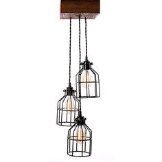 Rough Cut Mini—Triple Pendant Farmhouse Lighting, Rustic Lighting, Rustic Chandelier, Chandelier Lighting, Dining Room Light Fixtures, Wood Beams, Modern Rustic Interiors, Hanging Lights, Vintage Decor