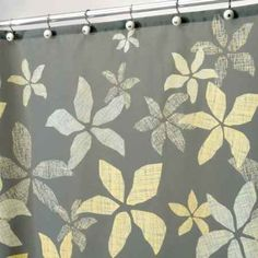 My favorite shower curtain with yellow and gray flowers