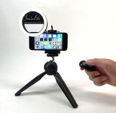 SOCIALITE Mini LED Photo Live Video Tabletop Ring Light Kit - Includes Mini Socialite Ring Light, Tripod Stand, Selfie Stick Monopod, Bluetooth Remote