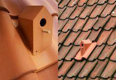 Se a telha da sua casa quebrar, que tal trocá-la por uma casinha para pássaros?