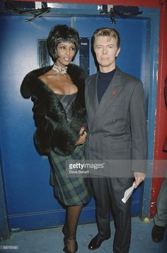 Singer David Bowie and his girlfriend, fashion model Iman at the World Aids Day concert 'Symphony of Hope', 1st December 1993.