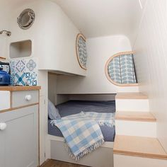 Interior shot of the LWB conversion. Full size double bed and 2 pod bunks - for kids but I've spent many nights in those beds and they fit a big lump like me quite nicely. Loads of storage in the steps. Fabric by , paint by pics by . Campervan Conversions Layout, Van Conversion Layout, Camper Van Conversion Diy, Campervan Bed, Campervan Interior, Campervan Ideas, Truck Interior, Pod Bed, Camper Bathroom
