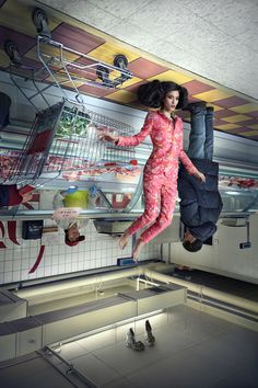 "Fashion models are posed upside down in the topsy turvy photo series ""Fortune Cookie"" by photographer Martin Tremblay and styling studio Pascal & Jeremie Creative Photography, Portrait Photography, Fashion Photography, Learn Photography, Conceptual Photography, Fashion Model Poses, Fashion Models, Quirky Fashion, Fashion Art"