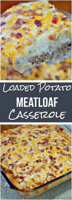 Loaded Potato Meatloaf Casserole is an easy dinner recipe. This ground beef casserole has a meatloaf base topped with mashed potatoes and loaded with cheese and bacon. #baconmeatloafrecipes
