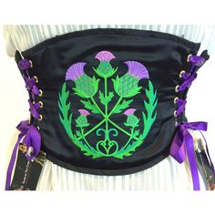 Waist Cincher 4 Sizes Embroidered Scottish Thistle ($134) ❤ liked on Polyvore