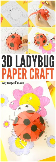 3D Paper Ladybug Craft! A beautiful craft for older kids!