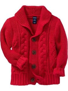 Shawl-Collar Cable-Knit Cardigans for Baby Product Image Daniel Tiger Party, Daniel Tiger Birthday, Boys Knitting Patterns Free, Knitting For Kids, Boys Sweaters, Red Sweaters, Cable Knit Cardigan, Pulls, Baby Boy Outfits