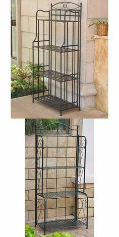 Plant Stands 29514: Outdoor Bakers Rack Plant Stand Patio Wrought Iron  Shelves Garden Folding Black