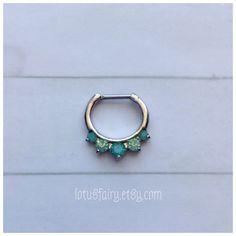 Green Opalite septum clicker septum ring Mermaid by lotusfairy