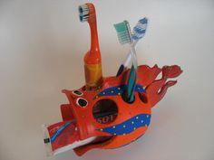 toothbrush _ etsy pond scum ceramics_fish Toothbrush Holders, Ceramic Fish, Aliens, Pond, Ceramics, Etsy, Ceramica, Water Pond, Pottery
