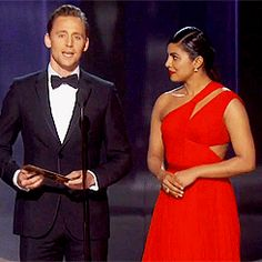 Priyanka Chopra and Tom Hiddleston present onstage at the 68th Annual Primetime Emmy Awards at Microsoft Theater on September 18th, 2016 in Los Angeles, California. Gif-set: http://maryxglz.tumblr.com/post/150613193042/stevenrogered-priyanka-chopra-and-tom