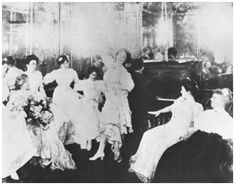 The pianist in this photo of Hilma Burt's Storyville bordello is said to be none other than famous jazz great, Jelly Roll Morton. Hilma Burt is seated at left and her housekeeper seated at right. Jazz, Jelly Roll Morton, Barbary Coast, New Orleans History, Saloon Girls, New Orleans Louisiana, Working Woman, Working Girls, Blue Books