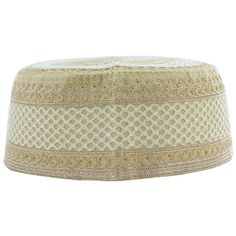 Tan Cotton with Light Brown and White Embroidery Muslim Prayer Mens Skull Cap Kufi Islamic Hat Knit Topi