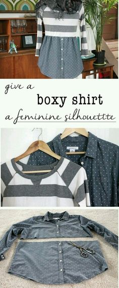 Refashion a boxy shirt into a cute one you'll want to wear all the time! Add a feminine silhouette by creating a shirt/sweater combo that is comfortable and flattering. Shirt Refashion, Diy Shirt, Sweater Shirt, Clothes Refashion, Shirt Dress, Clothes Crafts, Sewing Clothes, Diy Kleidung, Diy Vetement