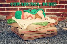 Crochet Teenage Mutant Ninja Turtle Inspired Newborn Photo Prop Set ---have to figure out how to make something like this