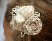 vintage inspired wedding flower hair piece beige cream ivory pearls beads  photo prop  hair clip fabric flower children newborn flower girl