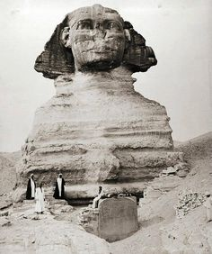 A fascinating image of the Great Sphinx of Egypt before being fully excavated. The image was taken circa 1880.