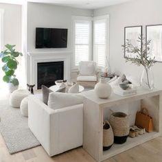 Simple Living Room Decor, Home Living Room, Apartment Living, Living Room Furniture, Living Room Designs, White Couch Living Room, White Couches, Apartment Ideas, Home Interior
