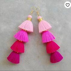 Jewelry | Pink Ombr Tassel Earrings | Poshmark Pink Tassel Earrings, Tassel Jewelry, Star Earrings, Chandelier Earrings, Tassel Necklace, Drop Earrings, Jewellery, Metallic Yarn, Women Jewelry