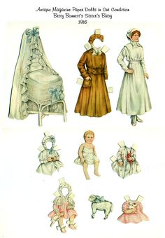Antique Betty Bonnet Paper Dolls Sister's Baby Ladies Home Journal Magazine 1916 Sheila Young Victorian Edwardian