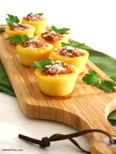 Polenta Cups Appetizer Recipe - perfect for the party season or to serve as starter