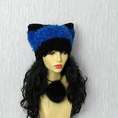Womens Hat Knit  Hat Cat Ears Women Hat Cat by AlbadoFashion