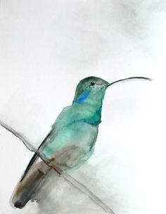 35% Off Sale - Bird Watercolor Painting - Hummingbird Art - Gift for Her - August - 8 x 10 Giclee Print on Etsy, $19.50