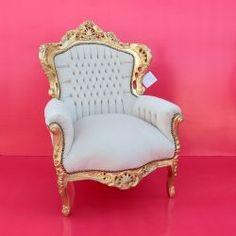 Poltrona KING barocco white/black pelle Poltrona barocco King alta ...