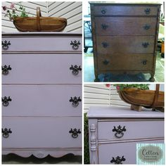 Before and After of charming dresser painted in Annie Sloan Chalk Paint Emile and finished with distressing and Maison Blanche Clear Antique Wax